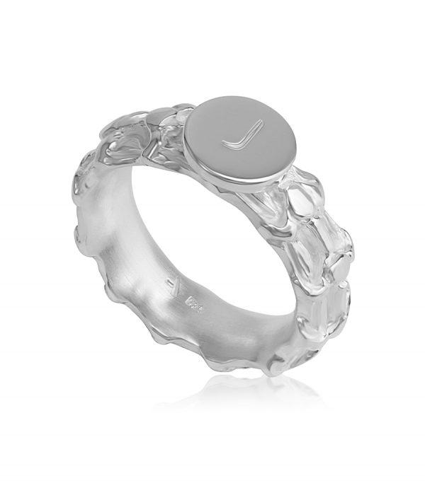 Signature Single Ring silver BONE - Galerie